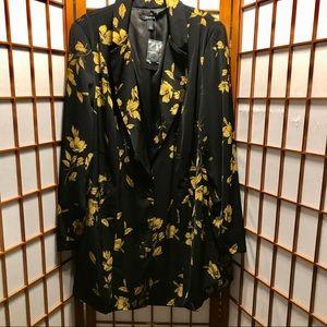 Torrid Black and Gold Floral Longline Blazer 2X